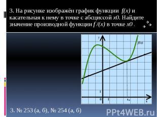 3. На рисунке изображён график функции f(x) и касательная к нему в точке с абсци