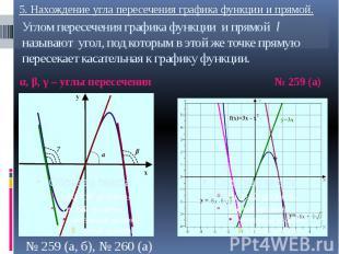 Углом пересечения графика функции и прямой l называют угол, под которым в этой ж