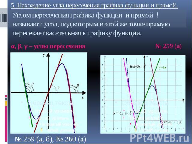 Углом пересечения графика функции и прямой l называют угол, под которым в этой же точке прямую пересекает касательная к графику функции. α, β, γ – углы пересечения
