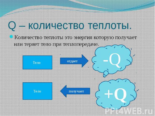 Q – количество теплоты. Количество теплоты это энергия которую получает или теряет тело при теплопередаче.