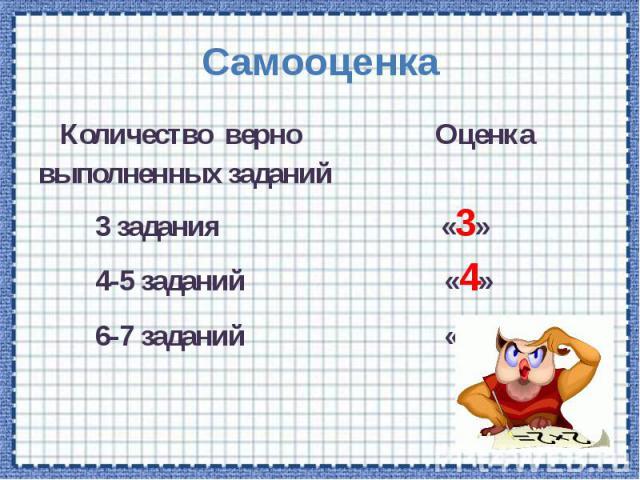Самооценка Количество верно Оценка выполненных заданий 3 задания «3» 4-5 заданий «4» 6-7 заданий «5»