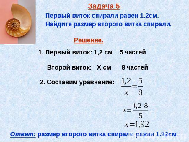 Задача 5 Первый виток спирали равен 1.2см. Найдите размер второго витка спирали.