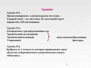 Задания Задания Группа №1. Проанализировать климатограмму по плану. Каждый ответ
