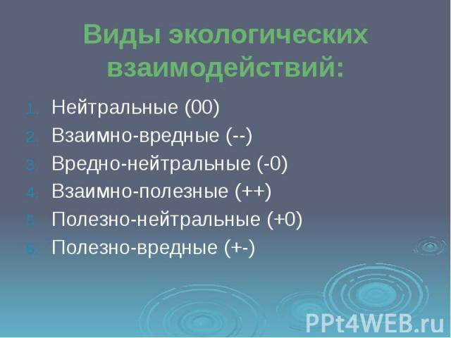 Виды экологических взаимодействий: Нейтральные (00) Взаимно-вредные (--) Вредно-нейтральные (-0) Взаимно-полезные (++) Полезно-нейтральные (+0) Полезно-вредные (+-)