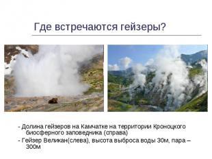 - Долина гейзеров на Камчатке на территории Кроноцкого биосферного заповедника (