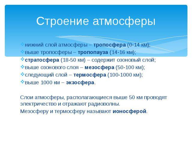 Строение атмосферы нижний слой атмосферы – тропосфера (0-14 км); выше тропосферы – тропопауза (14-16 км); стратосфера (18-50 км) – содержит озоновый слой; выше озонового слоя – мезосфера (50-100 км); следующий слой – термосфера (100-1000 км); выше 1…