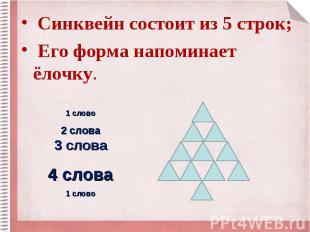 Синквейн состоит из 5 строк; Синквейн состоит из 5 строк; Его форма напоминает ё