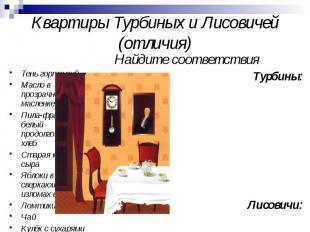 Квартиры Турбиных и Лисовичей (отличия) Тень гортензий Масло в прозрачной маслен
