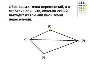 Обозначьте точки пересечений, а в скобках напишите, сколько линий выходит из той