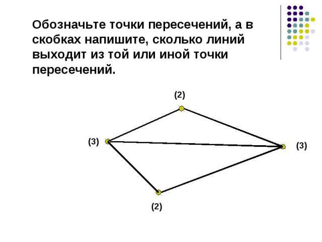 Обозначьте точки пересечений, а в скобках напишите, сколько линий выходит из той или иной точки пересечений.