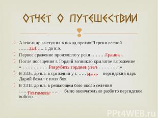 Александр выступил в поход против Персии весной ……………. г. до н.э. Александр выст