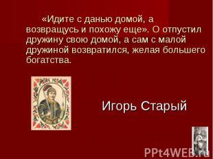 Игорь Старый «Идите с данью домой, а возвращусь и похожу еще». О отпустил дружин