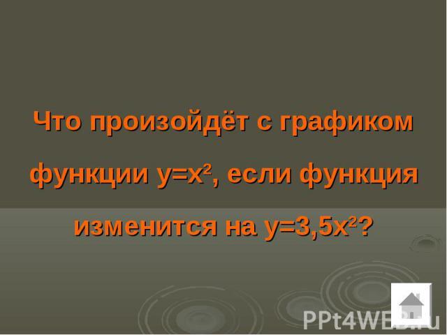 Что произойдёт с графиком функции у=х2, если функция изменится на у=3,5х2?