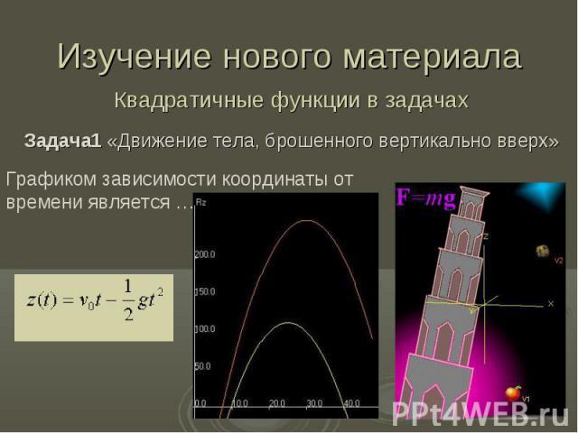 Изучение нового материала Квадратичные функции в задачах Задача1 «Движение тела, брошенного вертикально вверх»