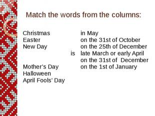Match the words from the columns: