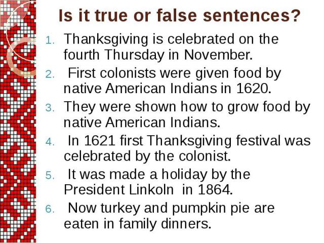 Thanksgiving is celebrated on the fourth Thursday in November. First colonists were given food by native American Indians in 1620. They were shown how to grow food by native American Indians. In 1621 first Thanksgiving festival was celebrated by the…