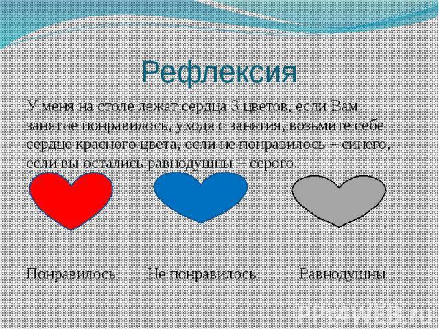 Рефлексия У меня на столе лежат сердца 3 цветов, если Вам занятие понравилось, уходя с занятия, возьмите себе сердце красного цвета, если не понравилось – синего, если вы остались равнодушны – серого. Понравилось Не понравилось Равнодушны
