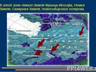 В этой зоне лежат Земля Франца-Иосифа, Новая Земля, Северная Земля, Новосибирски