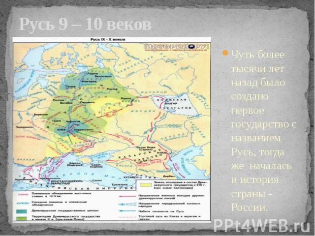 Русь 9 – 10 веков Чуть более тысячи лет назад было создано первое государство с названием Русь, тогда же началась и история страны - России.