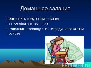 Домашнее задание Закрепить полученные знания По учебнику с. 96 – 100 Заполнить т