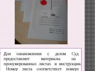 Для ознакомления с делом Суд предоставляет материалы на пронумерованных листах и