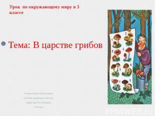 Урок по окружающему миру в 3 классе Учаева Ольга Полиэктовна учитель начальных к