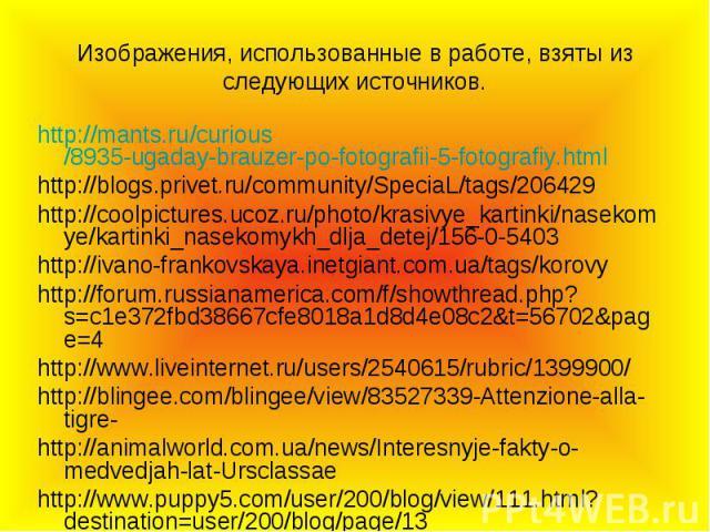 Изображения, использованные в работе, взяты из следующих источников. http://mants.ru/curious/8935-ugaday-brauzer-po-fotografii-5-fotografiy.html http://blogs.privet.ru/community/SpeciaL/tags/206429 http://coolpictures.ucoz.ru/photo/krasivye_kartinki…