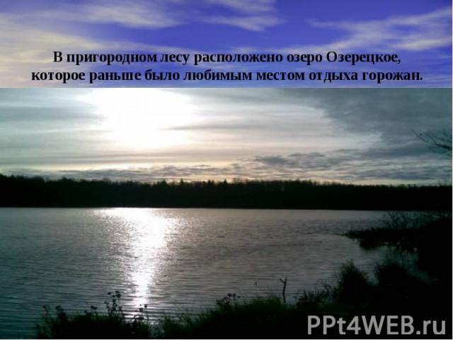 В пригородном лесу расположено озеро Озерецкое, которое раньше было любимым местом отдыха горожан.