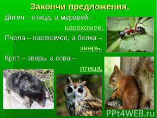 Закончи предложения. Дятел – птица, а муравей – насекомое. Пчела – насекомое, а