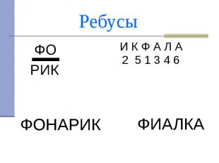 Ребусы ФО РИК