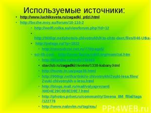 Используемые источники: http://www.luchiksveta.ru/zagadki_ptizi.html http://bozh