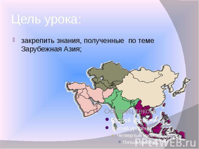 Цель урока: закрепить знания, полученные по теме Зарубежная Азия;