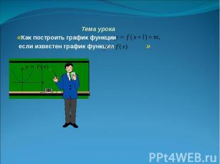 Тема урока «Как построить график функции если известен график функции »