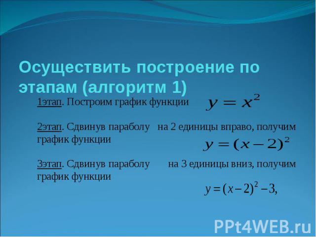 Осуществить построение по этапам (алгоритм 1) 1этап. Построим график функции 2этап. Сдвинув параболу на 2 единицы вправо, получим график функции 3этап. Сдвинув параболу на 3 единицы вниз, получим график функции