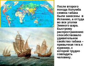 После второго похода Колумба семена табака были занесены в Испанию, а оттуда во
