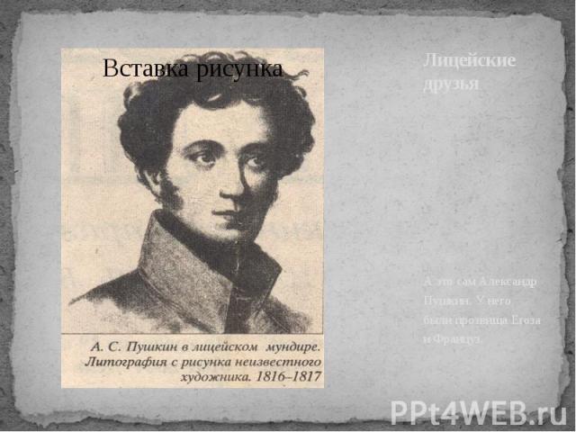 Лицейские друзья А это сам Александр Пушкин. У него были прозвища Егоза и Француз.