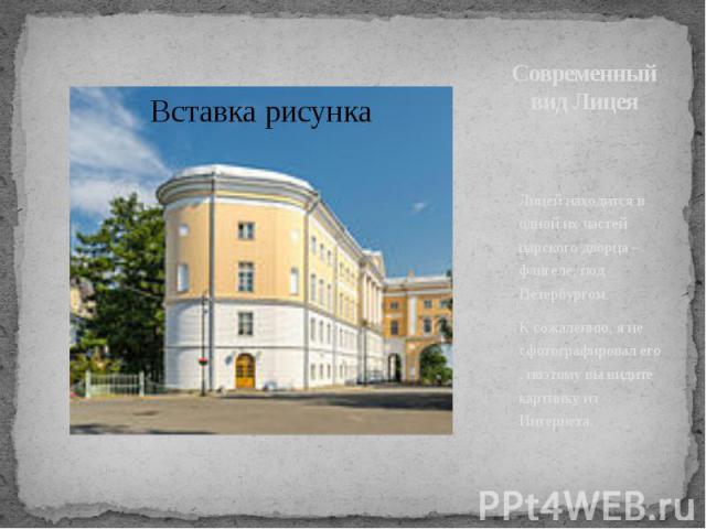 Современный вид Лицея Лицей находится в одной их частей царского дворца – флигеле, под Петербургом. К сожалению, я не сфотографировал его , поэтому вы видите картинку из Интернета.