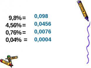 9,8%= 4,56%= 0,76%= 0,04% = 9,8%= 4,56%= 0,76%= 0,04% =