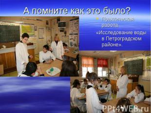 А помните как это было? Практическая работа «Исследование воды в Петроградском р