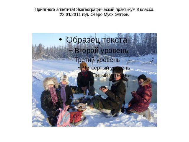 Приятного аппетита! Экогеографический практикум 8 класса. 22.01.2011 год. Озеро Муох Элгээн.