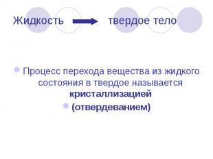 Жидкость твердое тело Процесс перехода вещества из жидкого состояния в твердое н