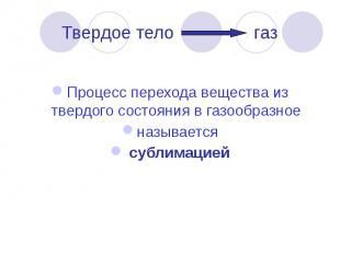 Твердое тело газ Процесс перехода вещества из твердого состояния в газообразное