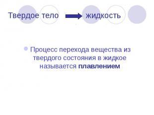 Твердое тело жидкость Процесс перехода вещества из твердого состояния в жидкое н