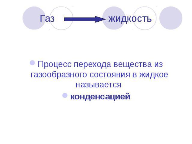 Газ жидкость Процесс перехода вещества из газообразного состояния в жидкое называется конденсацией