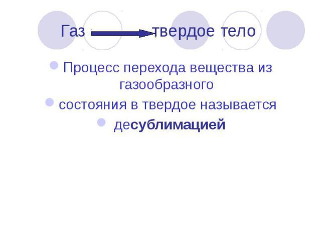 Газ твердое тело Процесс перехода вещества из газообразного состояния в твердое называется десублимацией