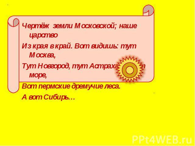 Чертёж земли Московской; наше царство Чертёж земли Московской; наше царство Из края в край. Вот видишь: тут Москва, Тут Новгород, тут Астрахань. Вот море, Вот пермские дремучие леса. А вот Сибирь…