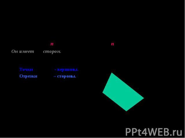Многоугольник с n-вершинами называется n-угольником. Многоугольник с n-вершинами называется n-угольником. Он имеет n сторон. У него смежные отрезки не лежат на одной прямой и имеют общую точку. Точки А,В,С,Д - вершины. А Отрезки 1,2,3,4 – стороны. 1…