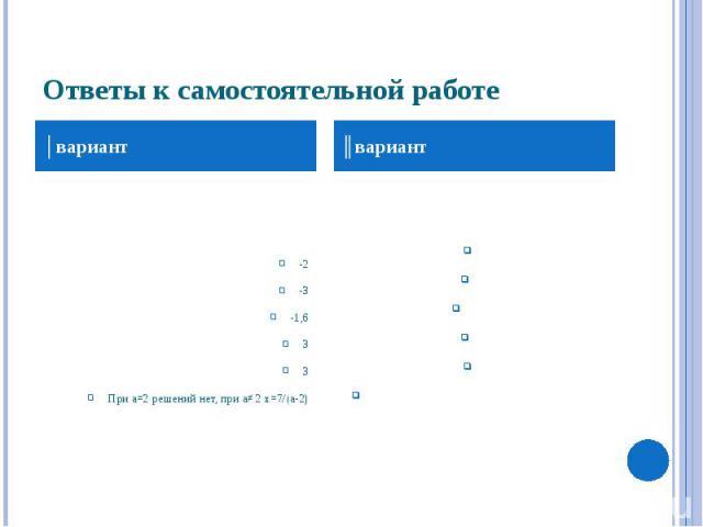 Ответы к самостоятельной работе -2 -3 -1,6 3 3 При а=2 решений нет, при а≠ 2 х=7/(а-2)
