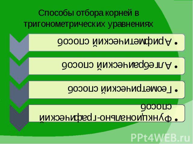 Способы отбора корней в тригонометрических уравнениях