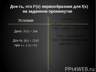 Док-ть, что F(x) первообразная для f(x) на заданном промежутке Условия Дано: F(x
